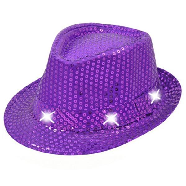 Hut mit Pailletten und LEDs, lila