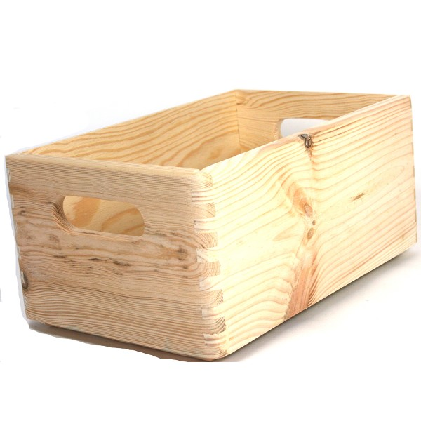 Holzkiste aus Massivholz, stapelbar L 30 cm