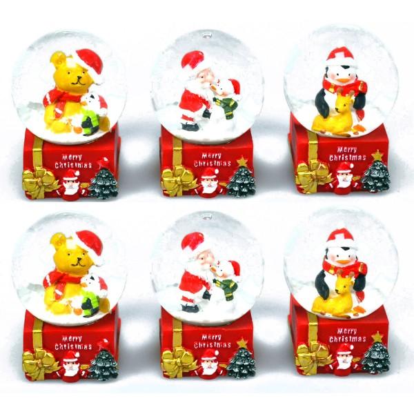6 x Deko Schneekugeln mit weihnachtlichen Motiven
