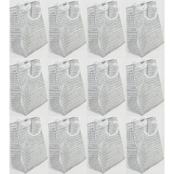 """12 Stück Geschenktüten """"Metallic-Look"""" H 32 cm"""