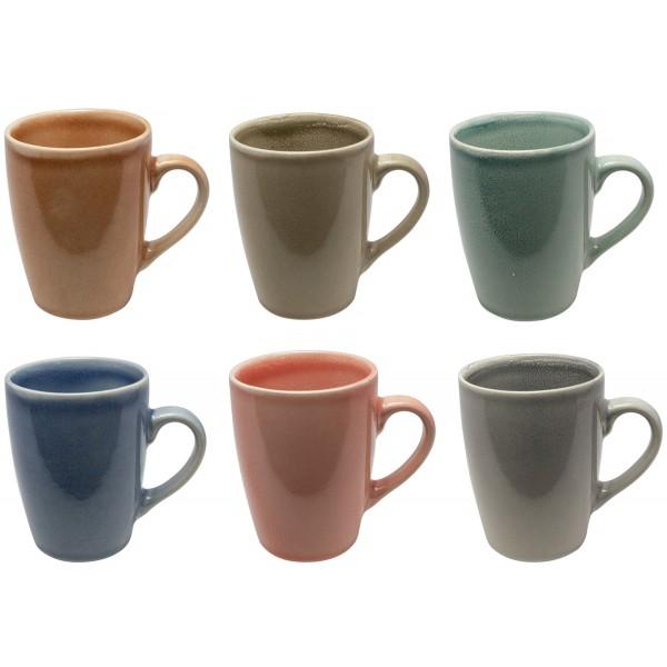 6-tlg.Set Kaffeebecher-Set aus Keramik in unverwechselbaren Farbtönen
