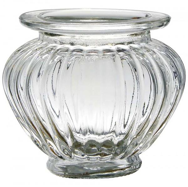 12 x Windlichter aus Glas mit geriffelter Struktur und Zirbelnuss-Optik