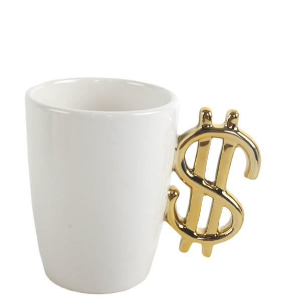 """Tasse mit """"Dollar-Henkel"""", weiss"""