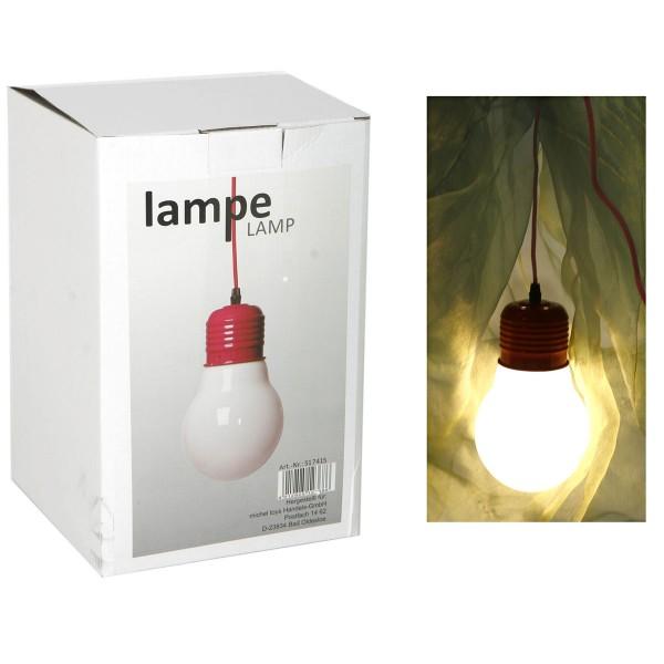 """Kombileuchte """"Glühbirne"""" rot mit Stecker und Kabel"""