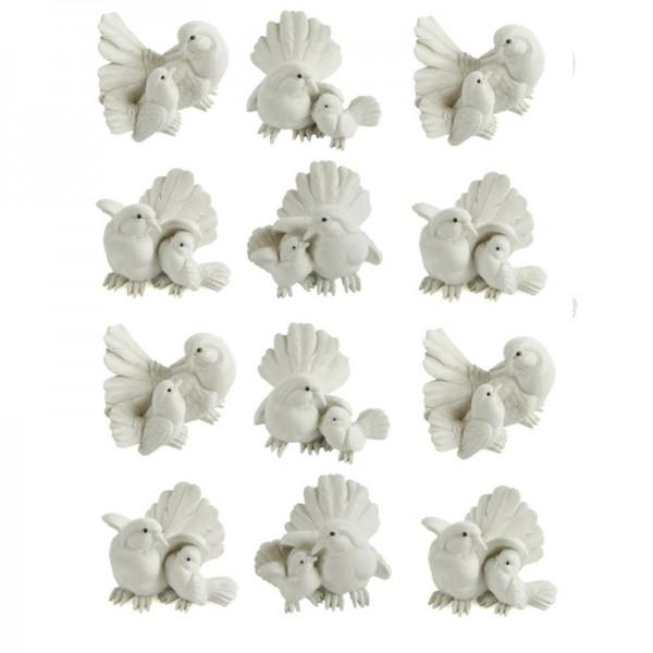 Tauben aus Polyresin, 12 x Pärchen