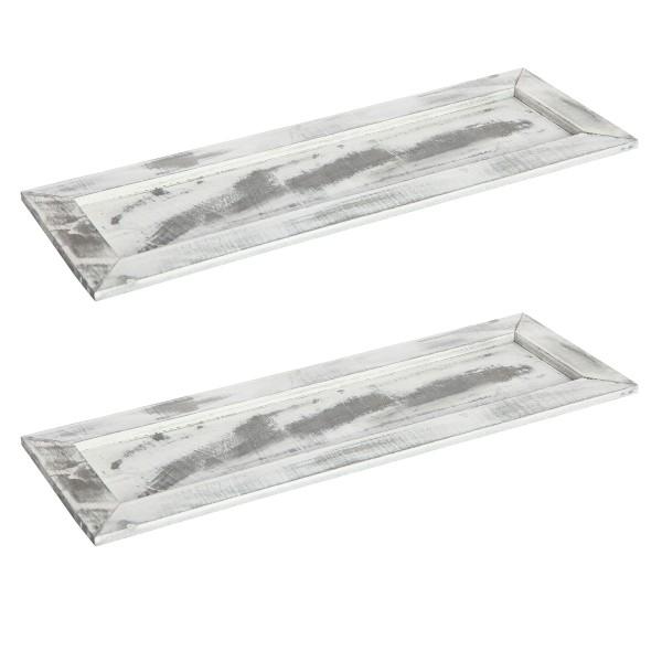 2 Stk. Tabletts aus Holz - Gesteckunterlage L 45,5 cm H 1,5 cm