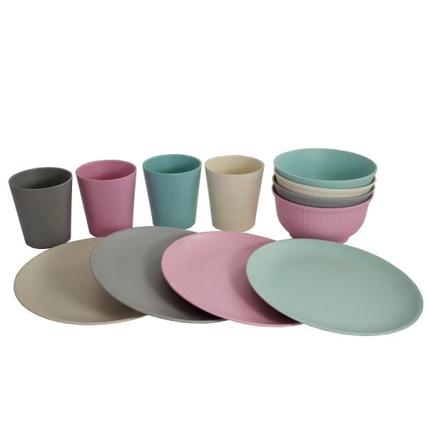 Je 4 Stk. Bambus Becher, Müslischalen oder Teller in trendigen Pastellfarben