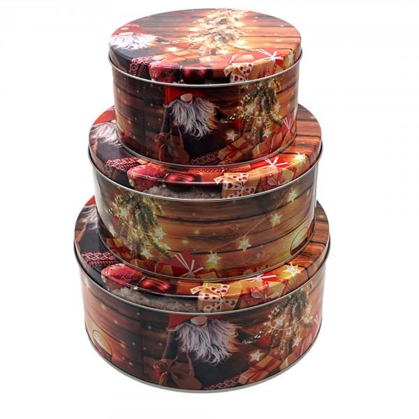 3-tlg. Set Gebäckdosen mit weihnachtlichen Motiven Ø 13 - 20 cm