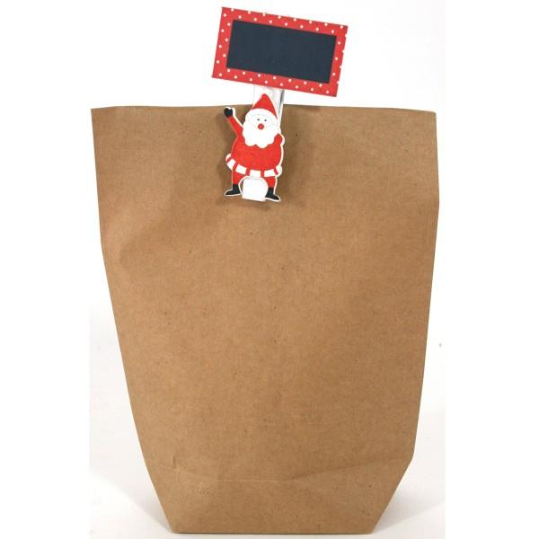 Adventskalender - 24 x Geschenktüten mit Nikolaus und Tafel auf Holzklammer