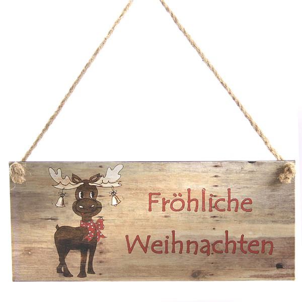 """Metallschild """"Fröhliche Weihnachten"""" Elch"""