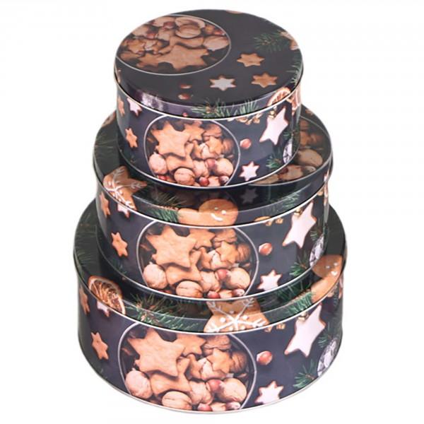 3-tlg. Set Gebäckdosen aus Metall für Weihnachten