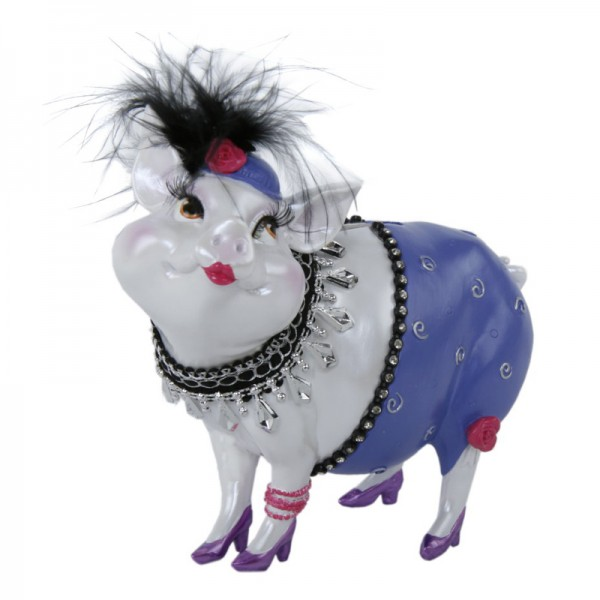 """Sparschwein """"Lady Piggy"""" lila, 17 cm"""