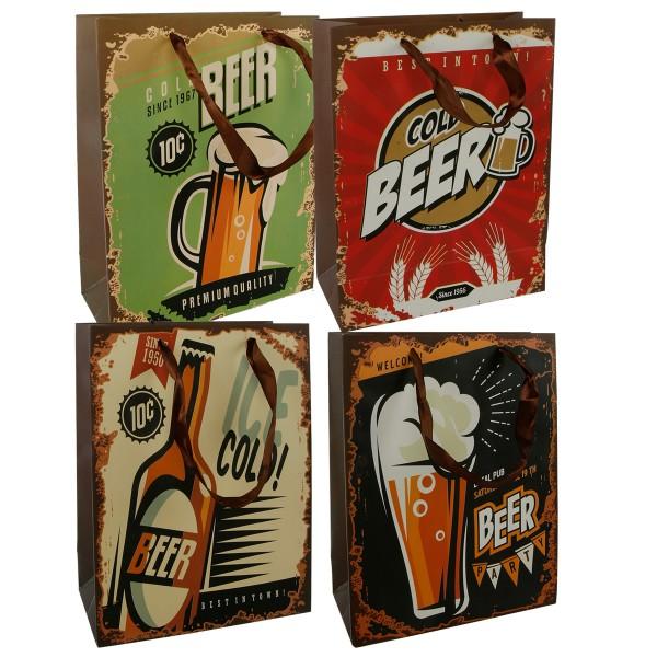 12-tlg. Set Geschenktüten Bier H 23 cm, 4 Design sortiert