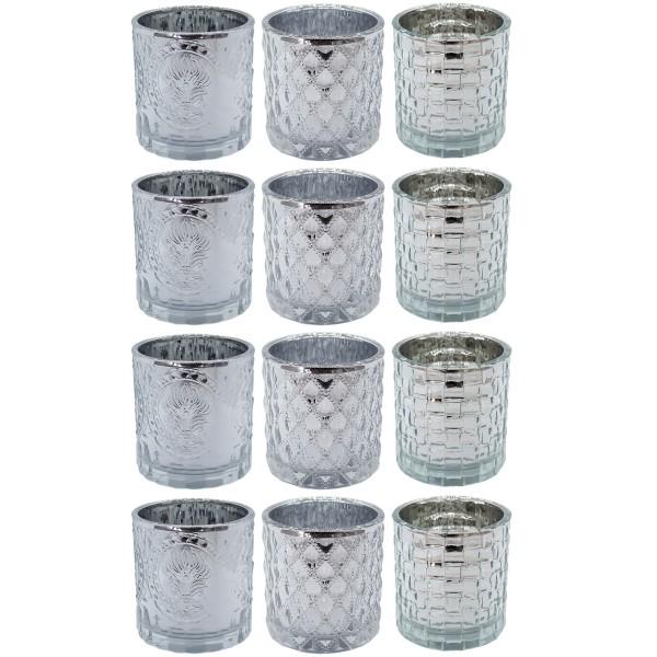 12 x Windlichter aus Glas in edel-silberfarben H 7,5 cm