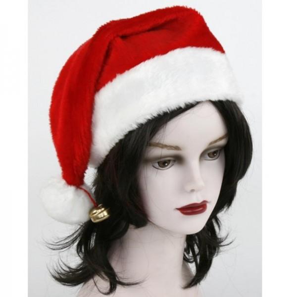 Weihnachtsmütze aus BOA-PLÜSCH mit Glöckchen