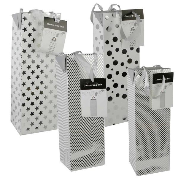 12 x Flaschentüten H 35 cm silber / weiß glänzend