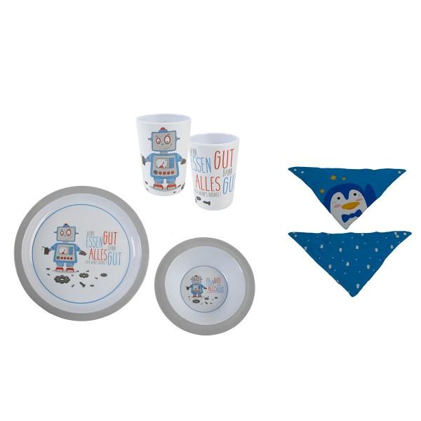 4-tlg. Geschenkset Baby - Geschirrset Roboter inkl. Lätzchen