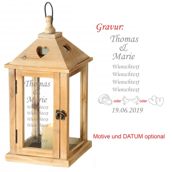 """Laterne """"Salzburg"""" aus Holz mit persönlicher Gravur zur Hochzeit H 40/54 cm"""