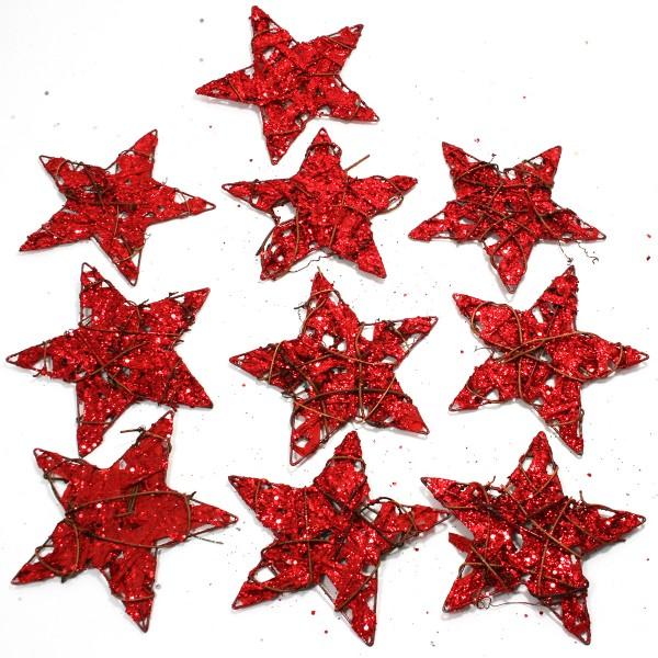 10 Stück Sterne aus Draht mit Rebe und Glitzerpapier Ø 15 cm
