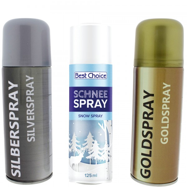 Schneespray - Goldspray - Silberspray für die Weihnachtsdeko