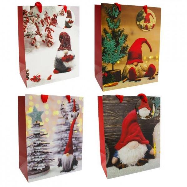 12 x Weihnachtsgeschenktüten mit niedlichen Wichteln 18 x 23 x 10 cm
