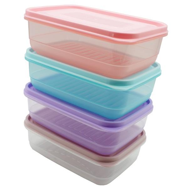 Frischhaltedosen zur Aufbewahrung farblich sort. 1,0 L + 2,1 L - für Mikrowelle und zum Einfrieren