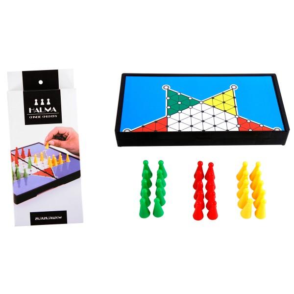 Halma Gesellschaftsspiel mit 30 Spielfiguren 24,5 cm