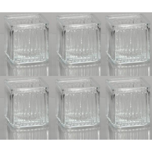 6 x Glaswürfel mit Riffelstruktur H 12 cm