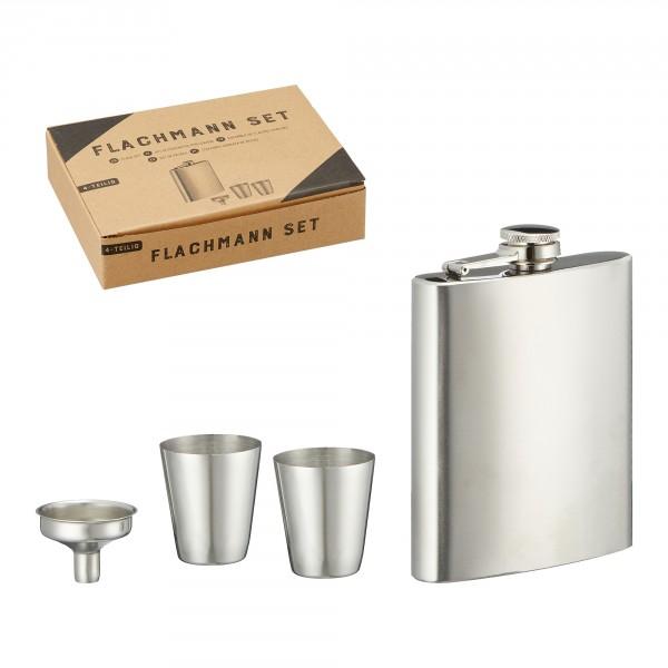 Flachmann Set 4-tlg. aus Edelstahl in toller Geschenkbox 180 ml