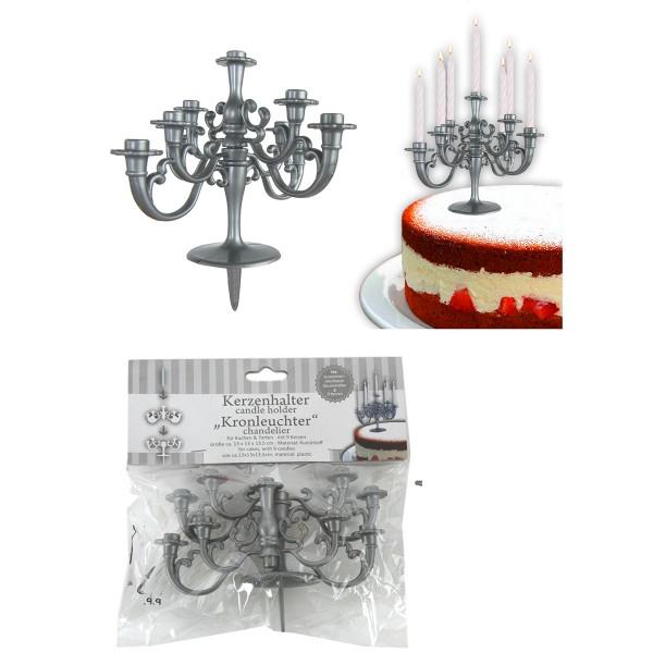 """Kerzenhalter für Kuchen """"LÜSTER"""" silberfarben inkl. Kerzen"""