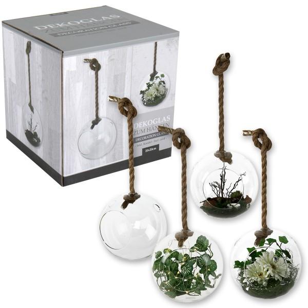 Dekoglas - Vase zum Hängen mit Tau rund L 70 cm