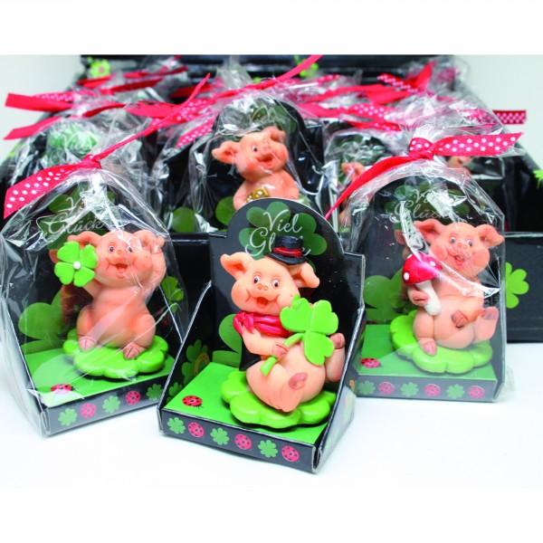 12 x Glücksbringer Glücksschwein aus Porzellan ca. 7 x 5 cm