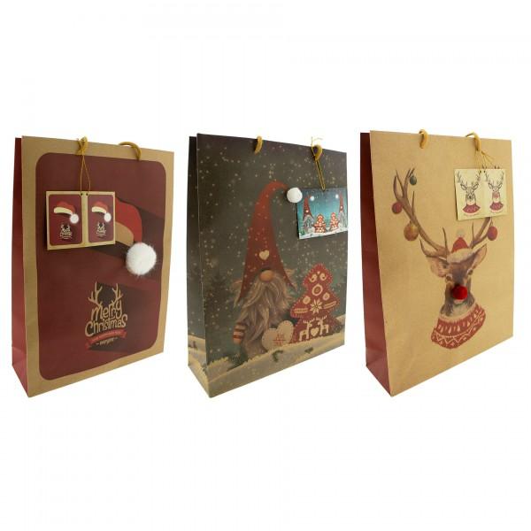 12 x Weihnachtsgeschenktüten mit süssen 3D Bommeln 26 x 32 x 12 cm