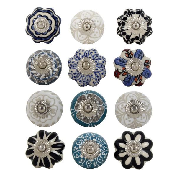 12 x Möbelknöpfe aus Keramik stilvoll im Shabby-Chic-Look