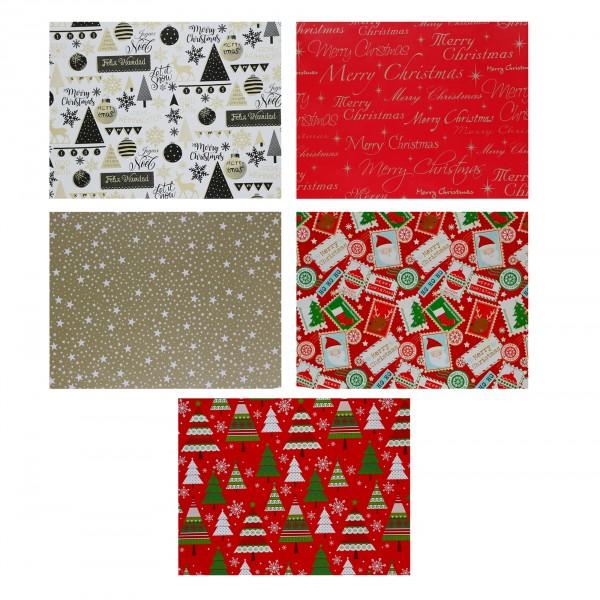 5 Rollen Geschenkpapier für Weihnachten mit jeweils 2 x 0,7 m ( Gesamt 10 lfd Meter)