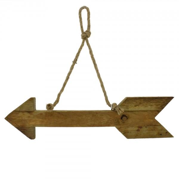 """Hinweisschild """"Pfeil"""" aus Holz zum Hängen L 40 cm"""