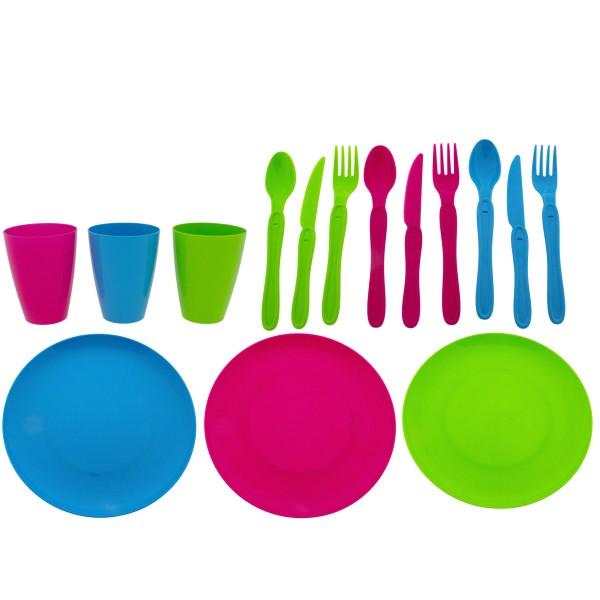 31 tlg. Picknickset - Geschirr aus Kunststoff in fröhlichen Farben