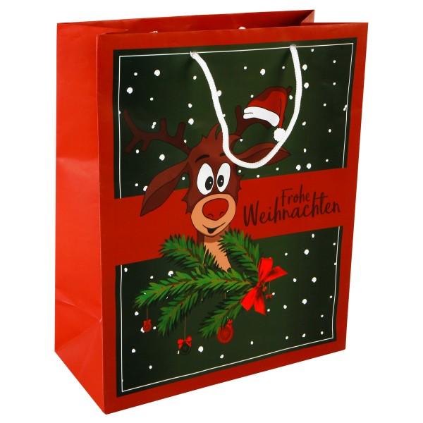 12 x Geschenktüten Weihnachten mit süßem Rentier