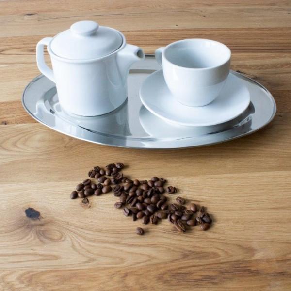 """3 x Serviertablett """"Kaffeehaus"""" aus Metall in silberfarben"""