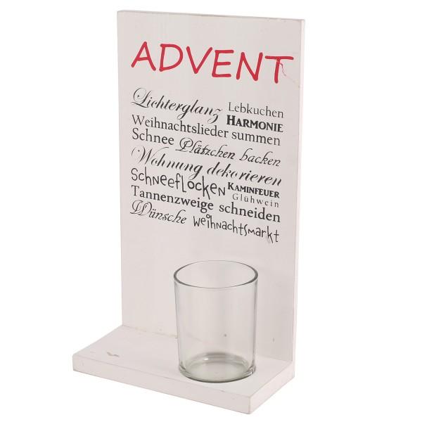 """Holzaufsteller """"Advent"""" mit Windlicht H 25 ,cm"""