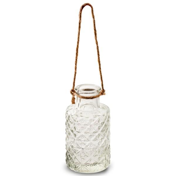 Kleine Flaschen als Vasen mit Jute zum Hängen H 11 cm