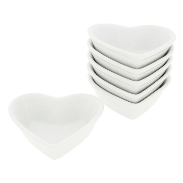 6 x Herzschalen aus Porzellan