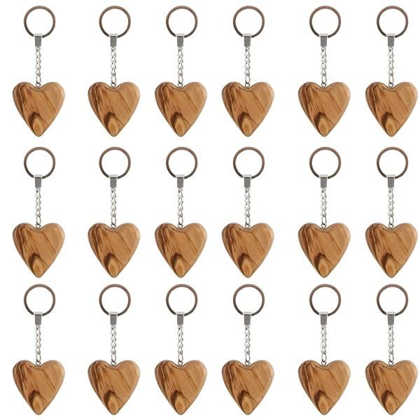 18 Stück Schlüsselanhänger Herz aus Olivenholz