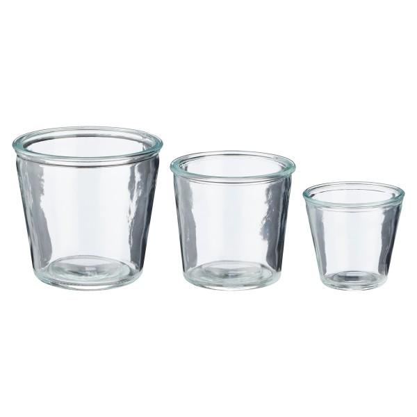 Windlichter Set 3-tlg. aus Glas H 13 cm - 11 cm - 9 cm