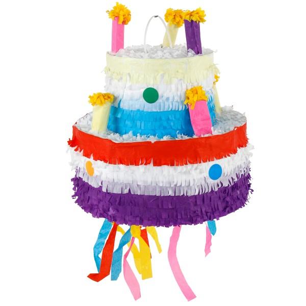 Pinata Torte XXL aus Pappmache mit Aufhänger inkl. ein Beutel Konfetti