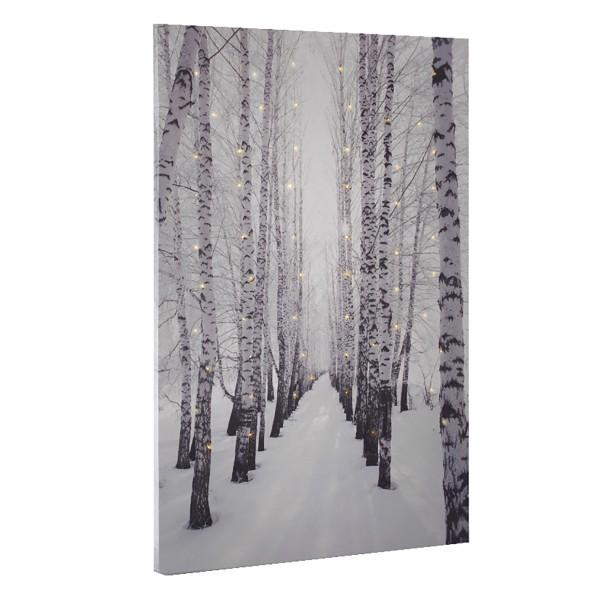 """Bild """"Birkenallee im Schnee"""" mit 60 Mikro-LED´s, 40 x 60 cm"""