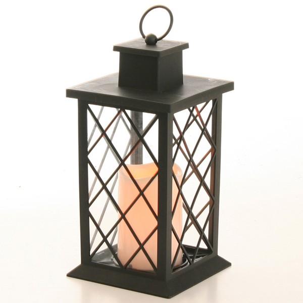 Laterne mit LED-Flackerkerze, batteriebetrieben 27,5 cm
