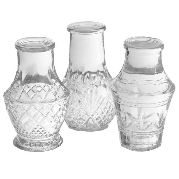 12 x Mini-Vasen Vintage 3-fach sortiert