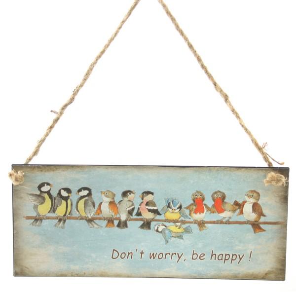 """Schild aus Metall """"Do not worry be happy"""" zum Hängen"""