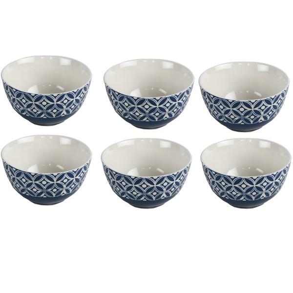 Schalen mit Ornamenten 6-tlg. Set, blau
